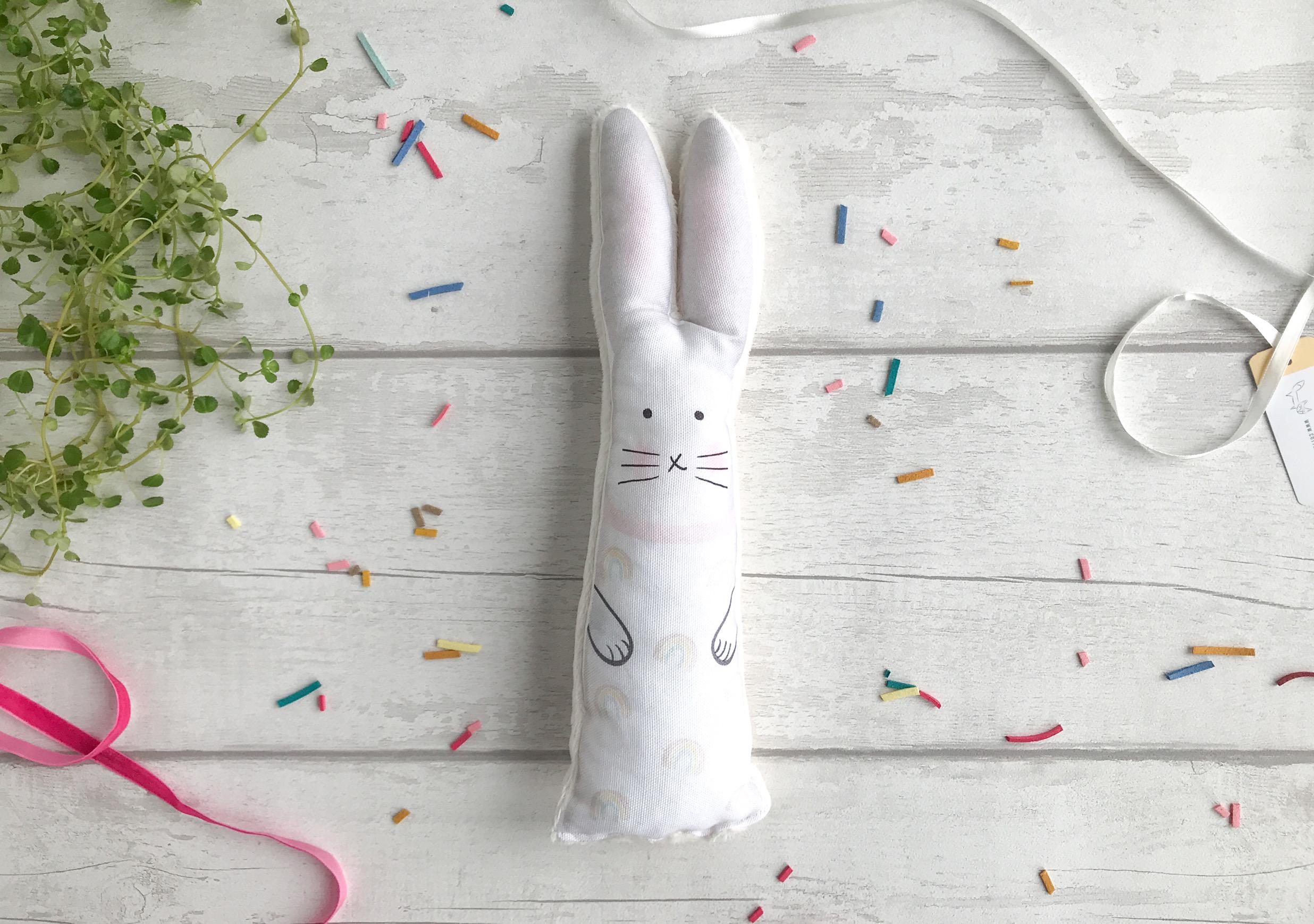 Rainbow bunny soft toy