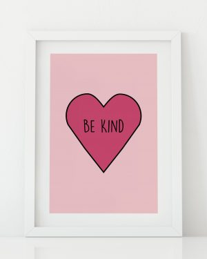 Be Kind heart nursery print