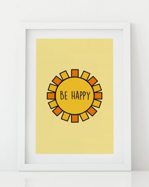 Be Happy sunshine kids room art