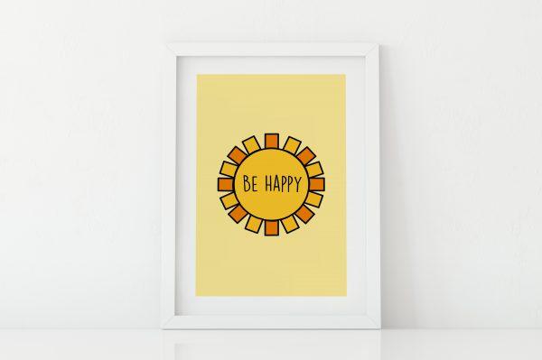 Be Happy sunshine kids room art