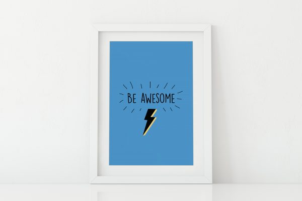 Be Awesome super hero art print