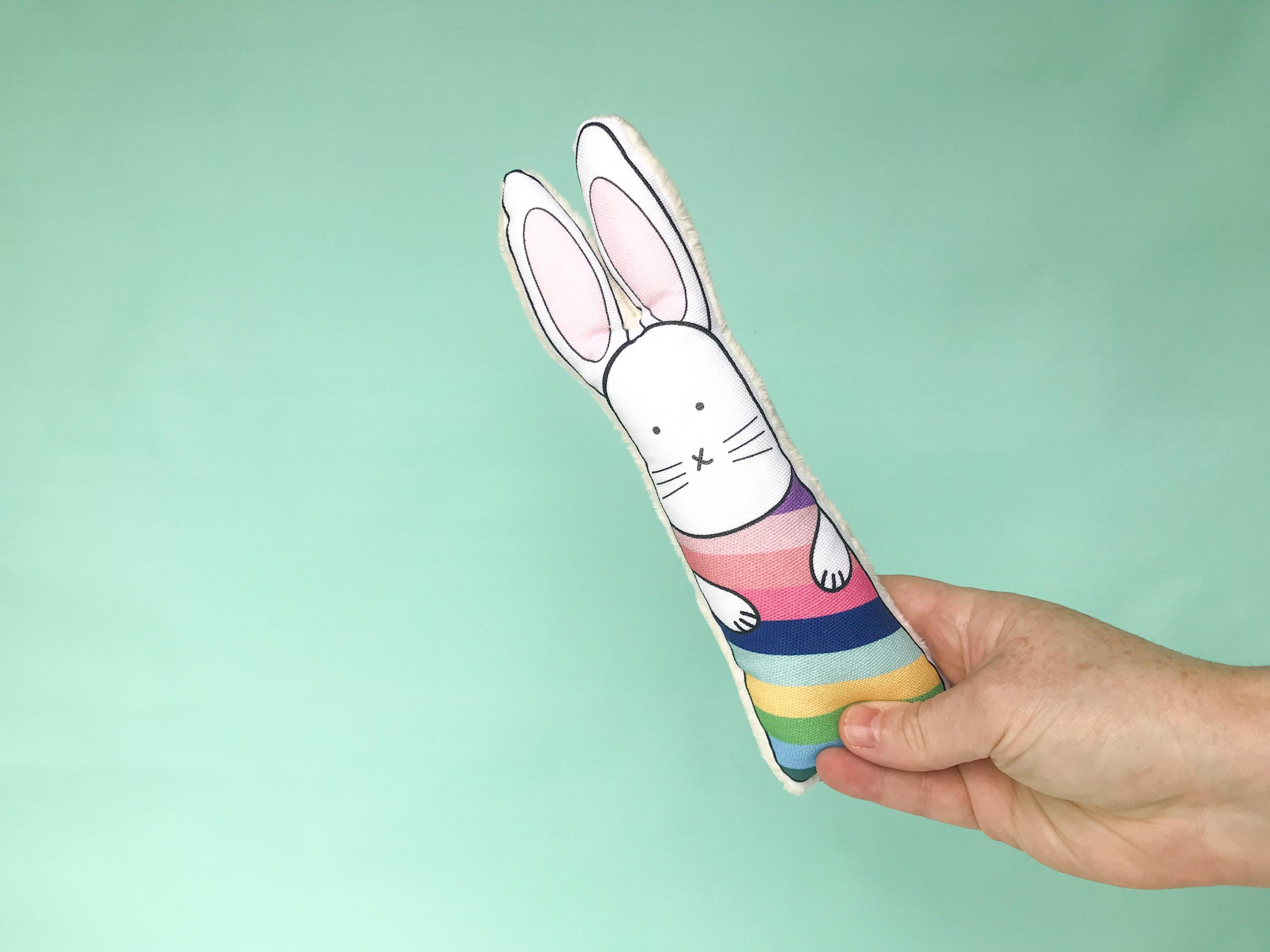 Rainbow stripes rabbit toy