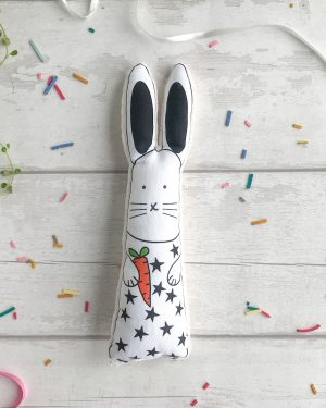 Black and white soft toy bunny