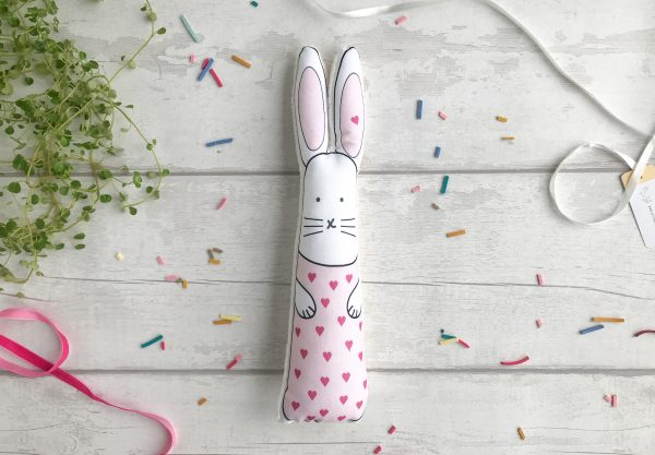 Pink hearts bunny soft toy