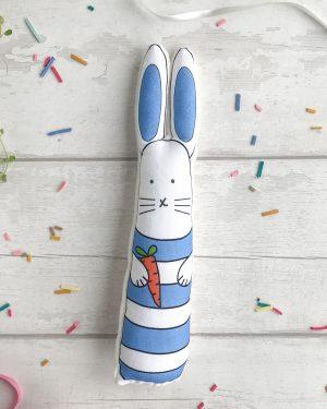 Blue striped bunny soft toy