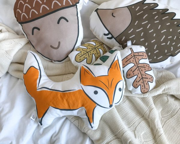 Woodland fox shaped cushion